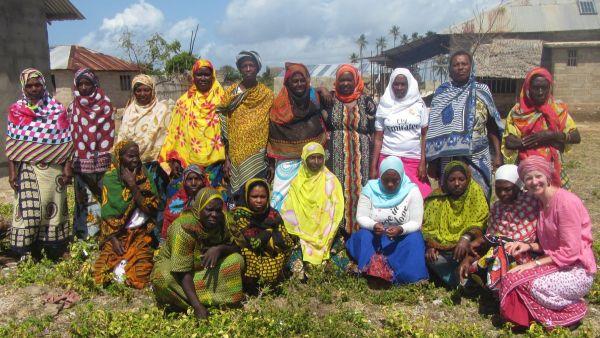 Betsy Beymer-Farris with women of Mafia Island Tanzania